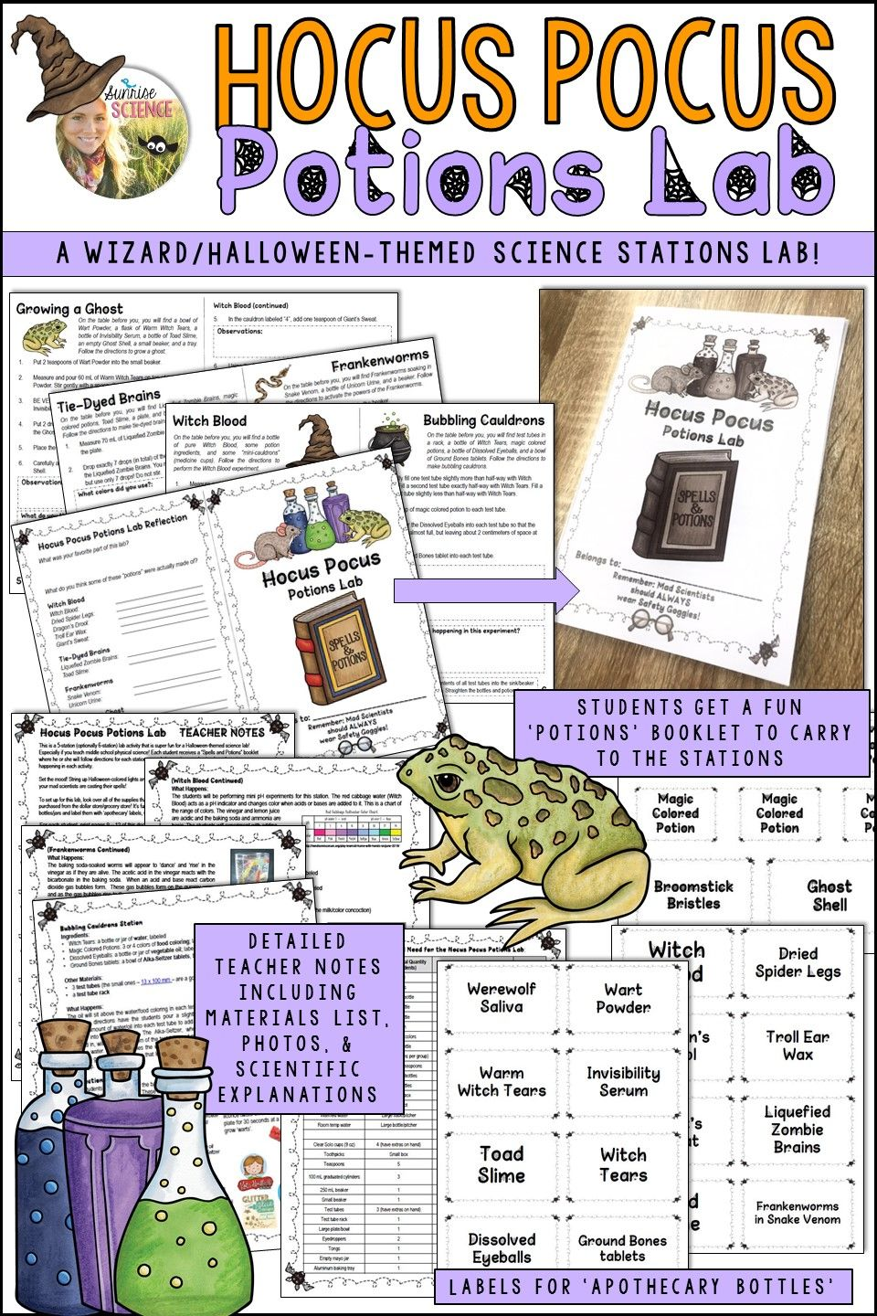 A Middle School Chemistry Based Potion Stations Lab Lets Students Be Wizards For A Da Halloween Science Physical Science Middle School Middle School Science
