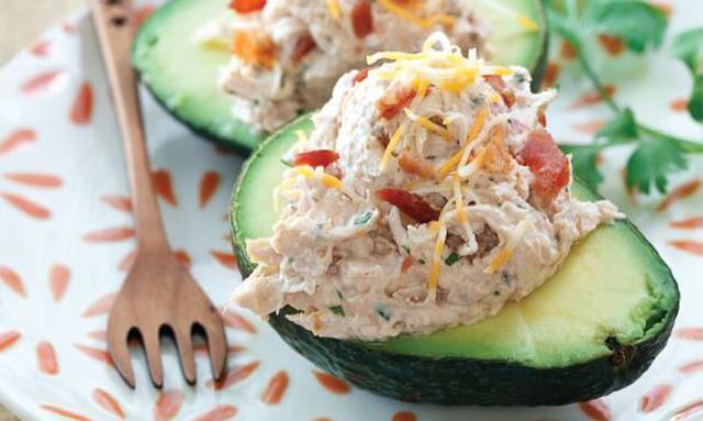 Southwestern Chicken Salad In Avocado Bowls Healthiness