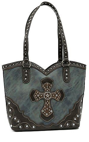 309d82995887 Blazin Roxx Ladies Blue Marble with Brown Layered Western Cross & Crystals  Bucket Bag