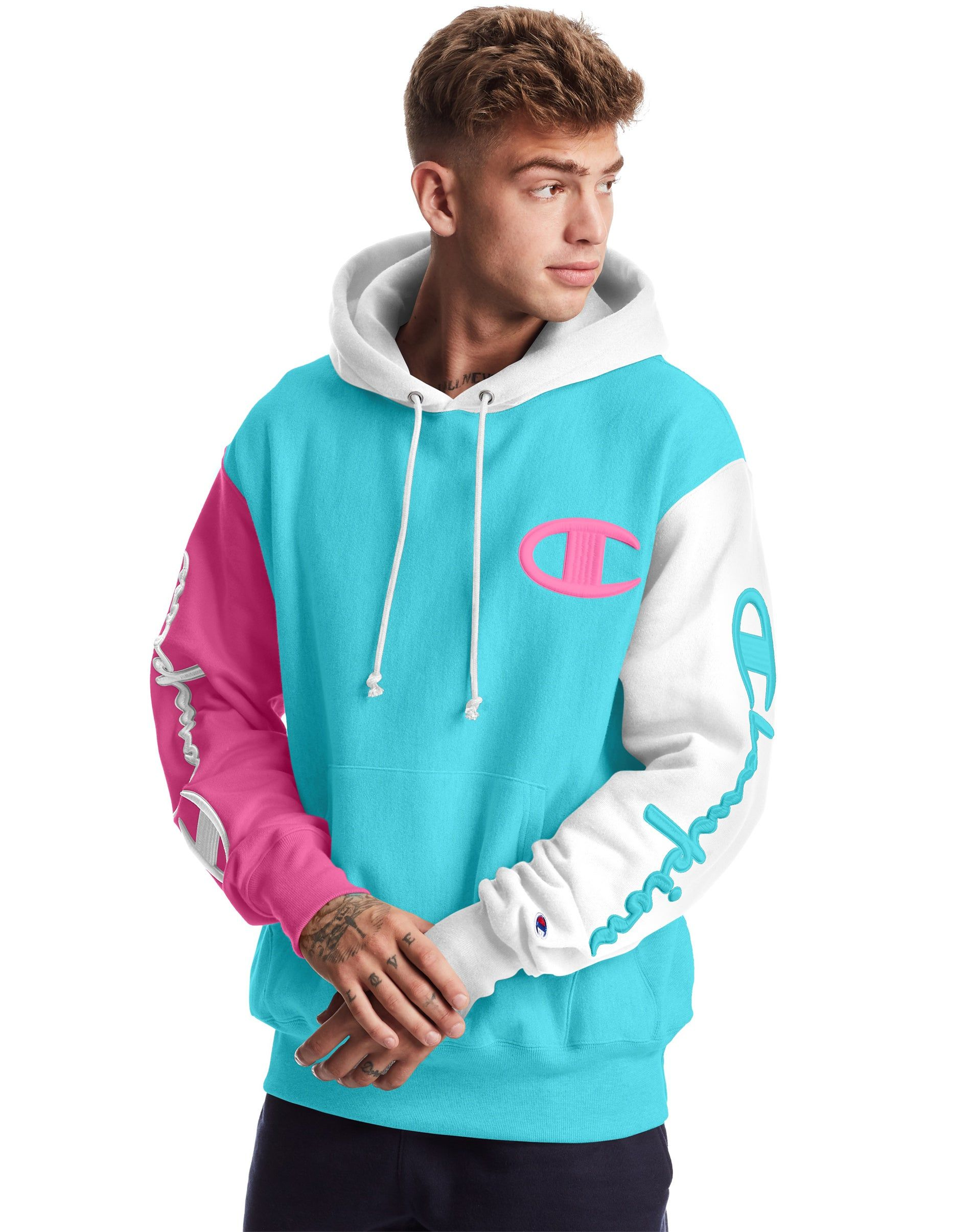 Reverse Weave Colorblock Hoodie Streetwear Men Outfits Champion Clothing Trendy Hoodies [ 2410 x 1900 Pixel ]