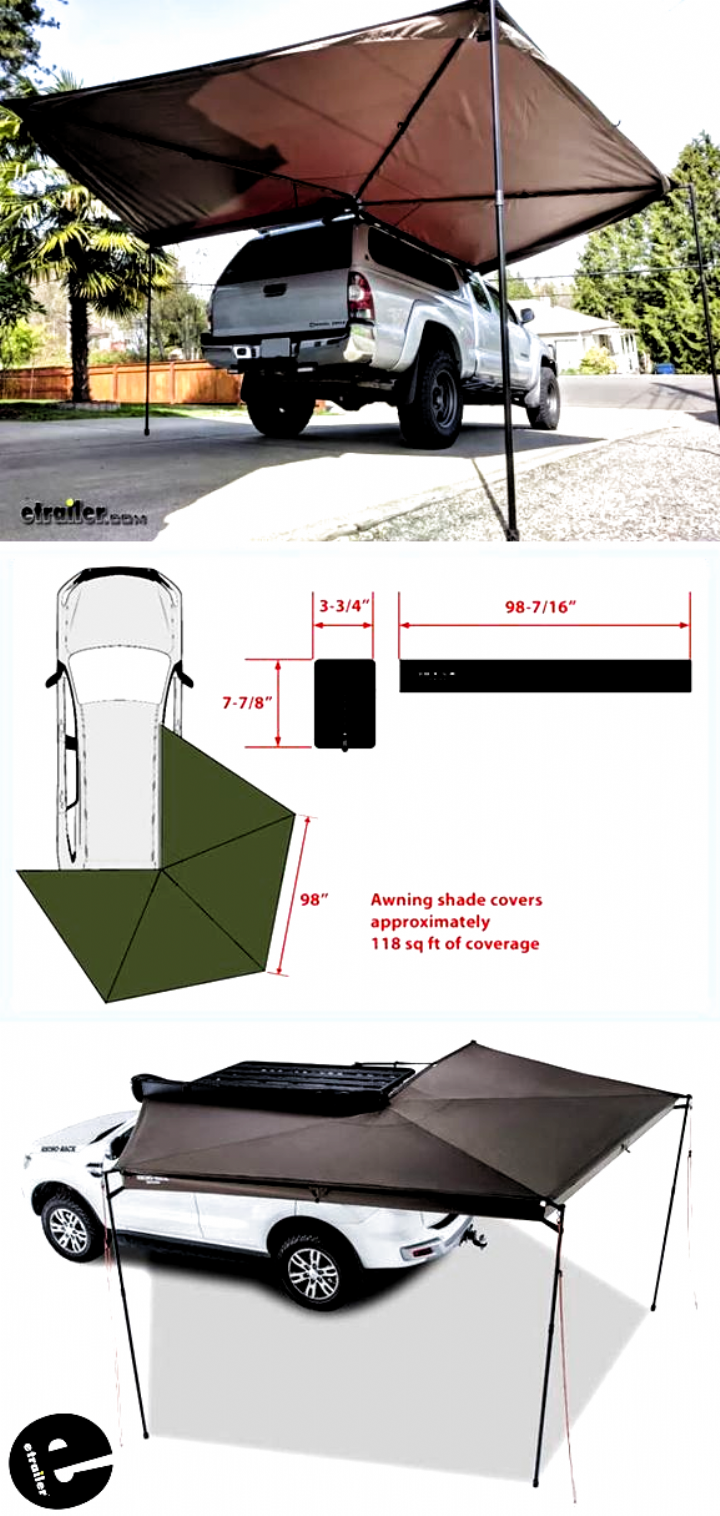 This Awning Can Be Set Up Anywhere You Can Park Its Perfect For Tailgaters Campers Tradesmen Really In 2020 Truck Bed Camping Camper Awnings Jeep Camping Trailer