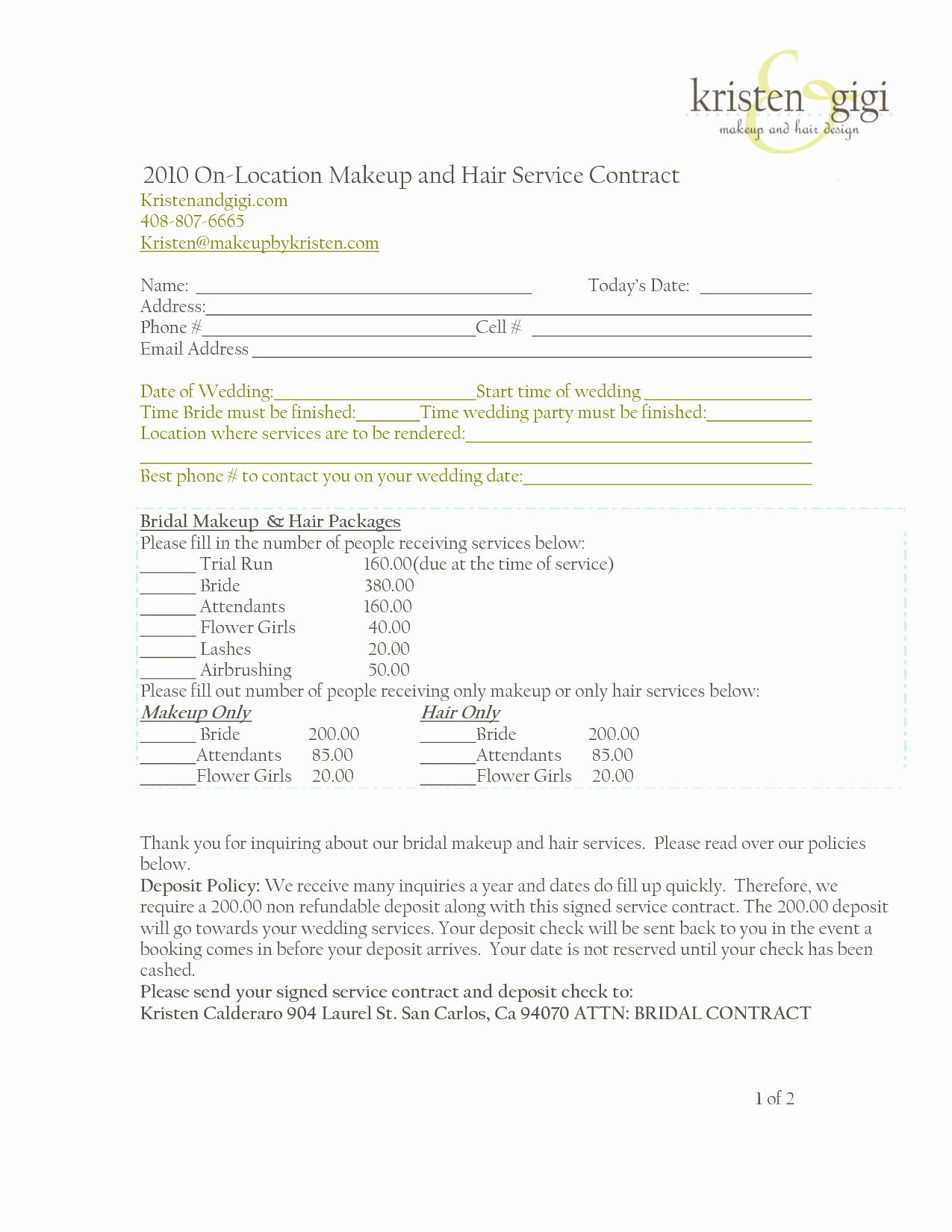 Freelance Makeup Artist Contract Template Shooters