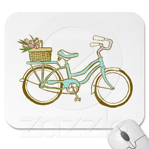 Bicicleta linda con los tulipanes alfombrilla de raton