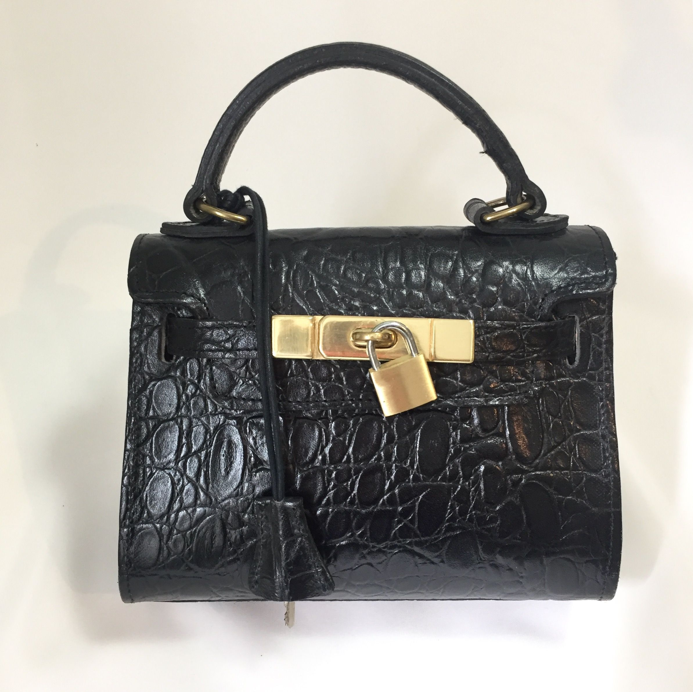 850049514c97 ... ireland pre owned and loved mulberry mini kelly croc embossed bag black  leather in 43abe cf241