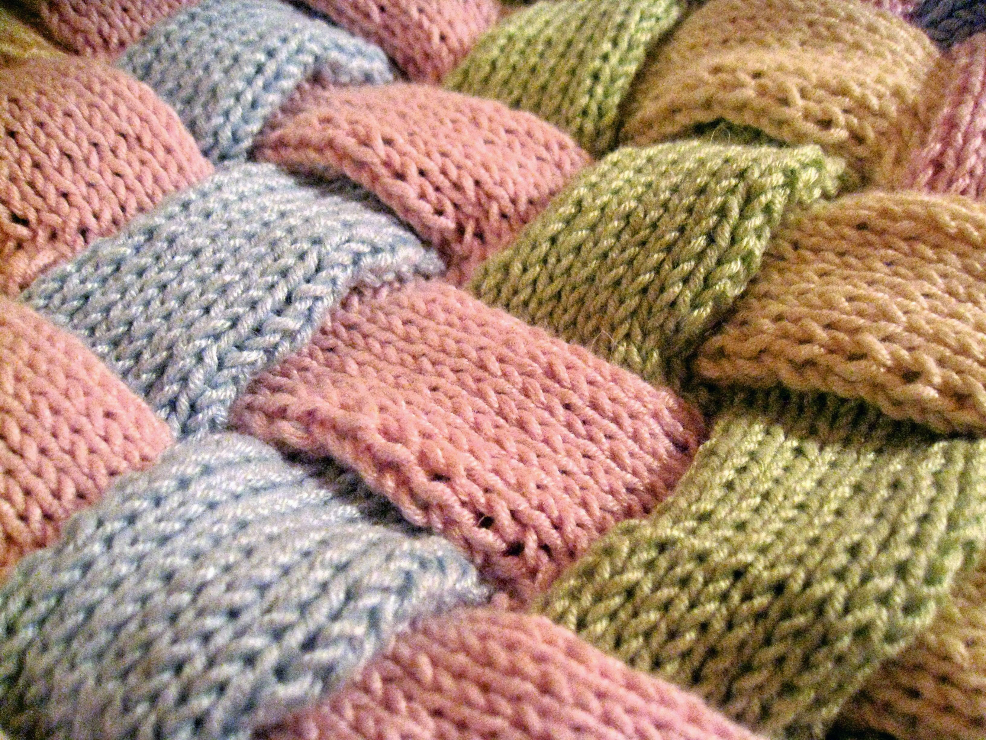 Knitting Quilt Stitch : Weaved knitted baby blanket lots of little scarves