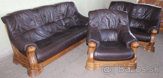 Dubová, rustikální, kožená, sedací souprava 3+2+1 hnědá - 1