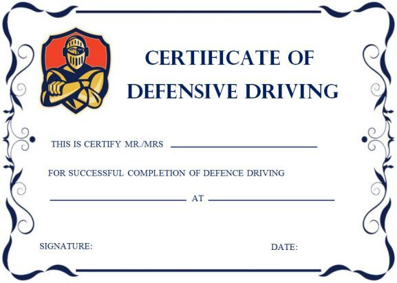 Defensive Driving Certificates Safe Driving Certificate Template