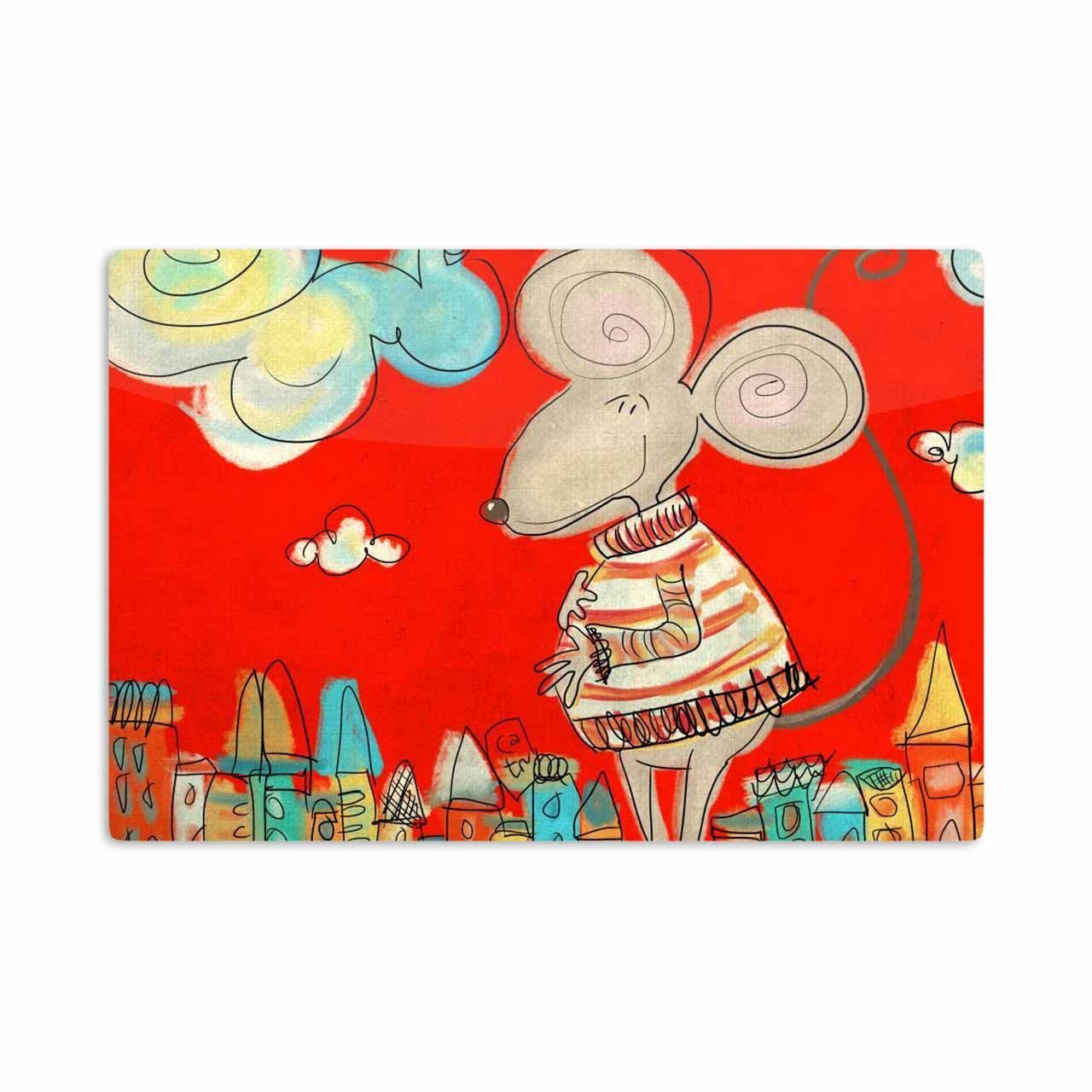 "Carina Povarchik ""Urban Mouse - Red "" Teal Yellow Aluminum Artistic Magnet"