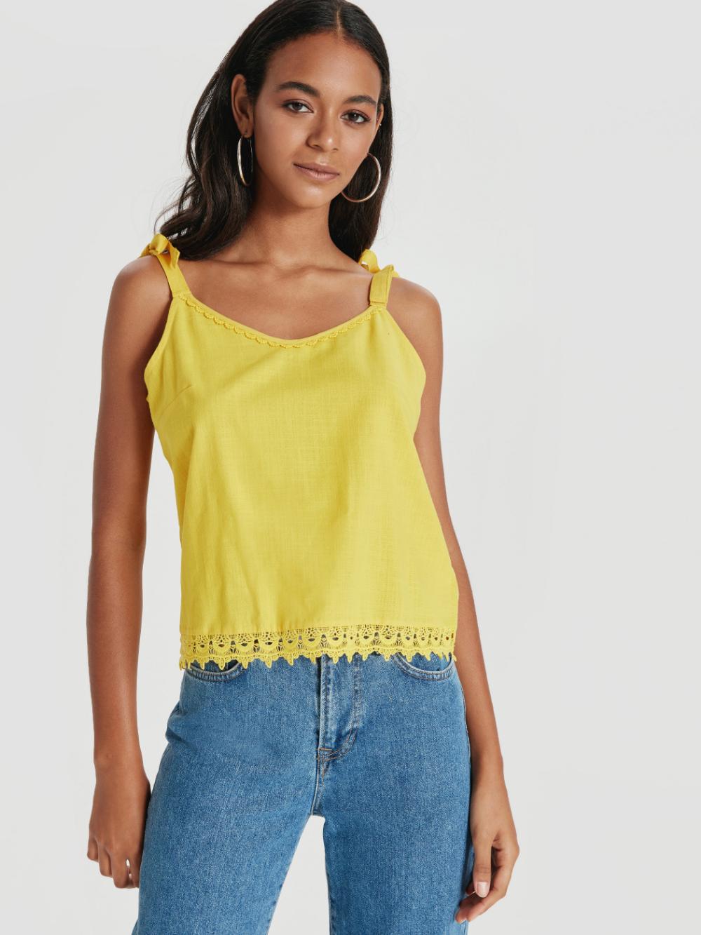 تاپ زرد زنانه Fashion Women S Top Tops