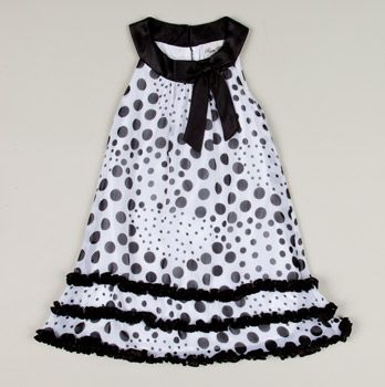 Rare Editions Girls   Chiffon Polka Dot Dress Black/White