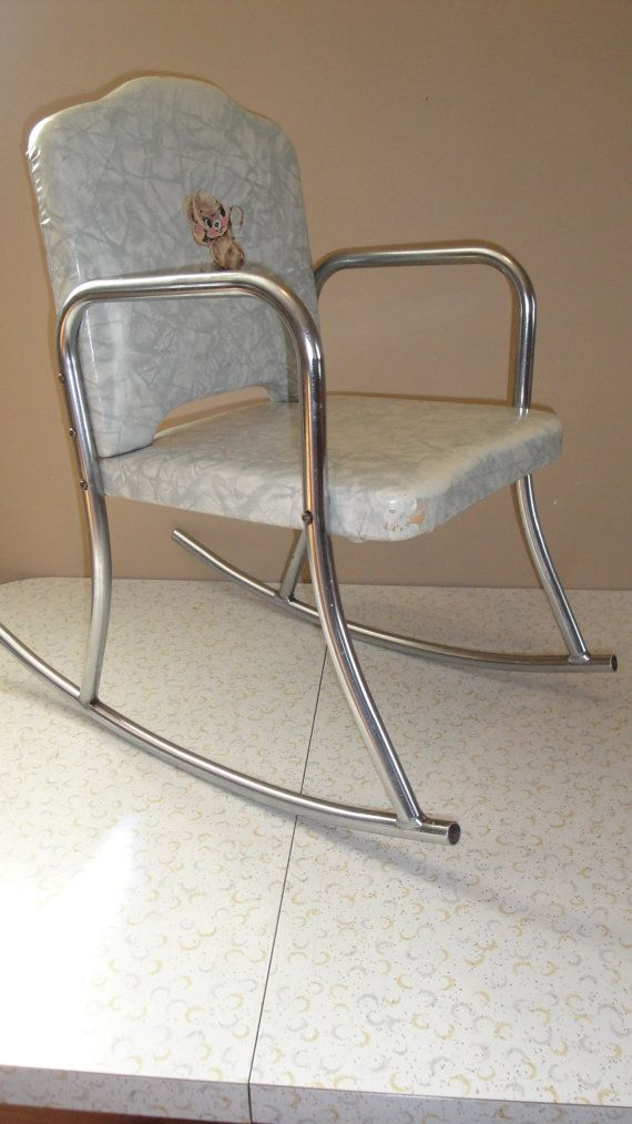 Beautiful Vintage Childs Vinyl And Chrome Plated Teddy Bear Rocker Rocking Chair