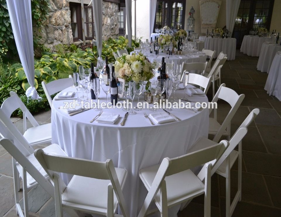 Cheap Classic White Spun Polyester Round Wedding Table Cover