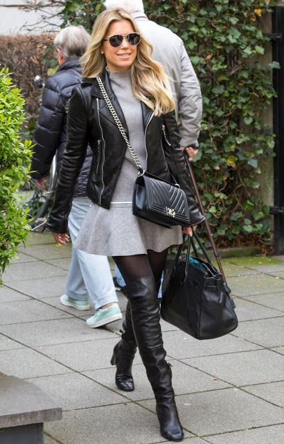 celebrities in leather sylvie meis wears a leather jacket