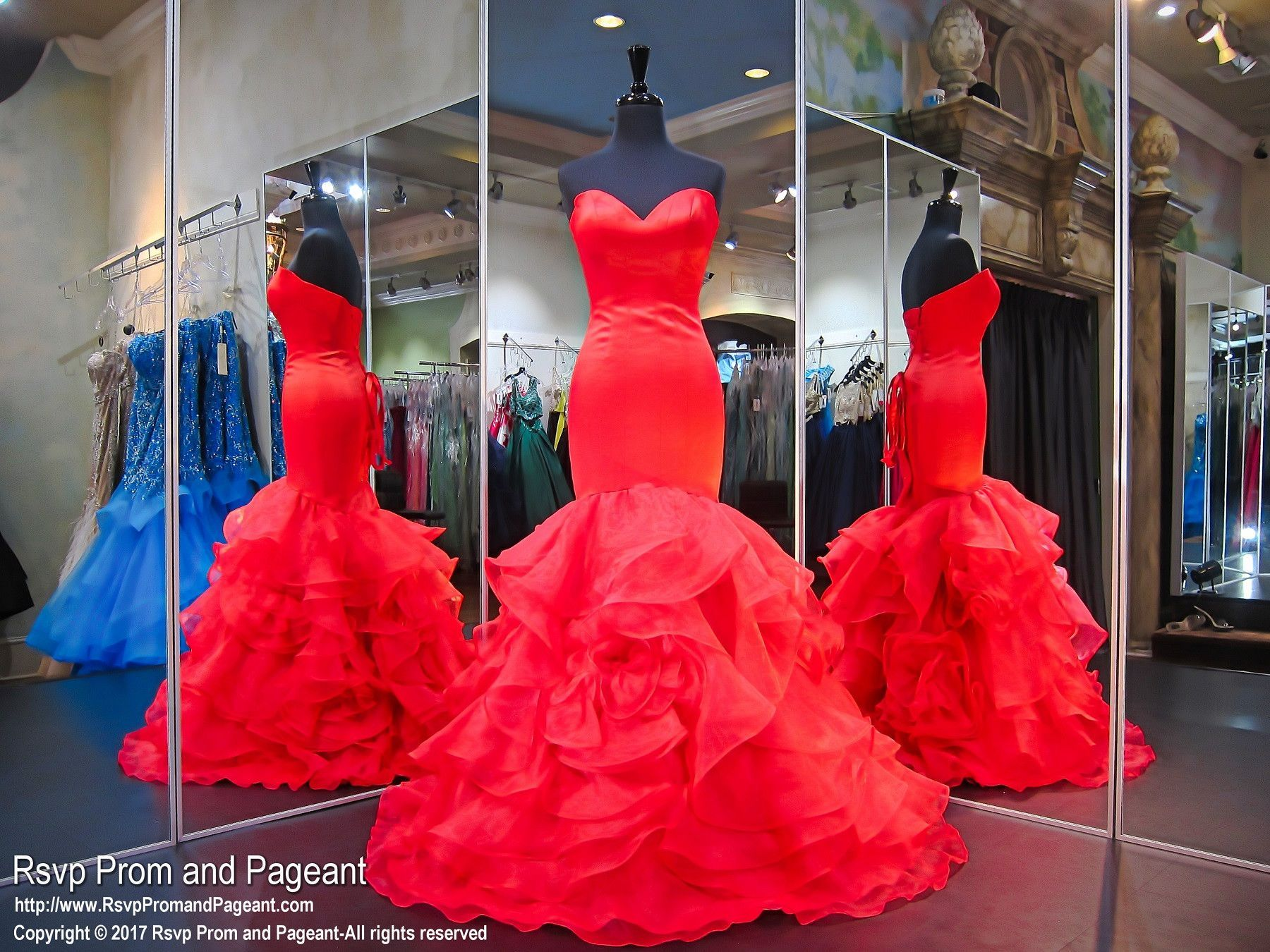 Red ruffled strapless prom dress red dresses pinterest
