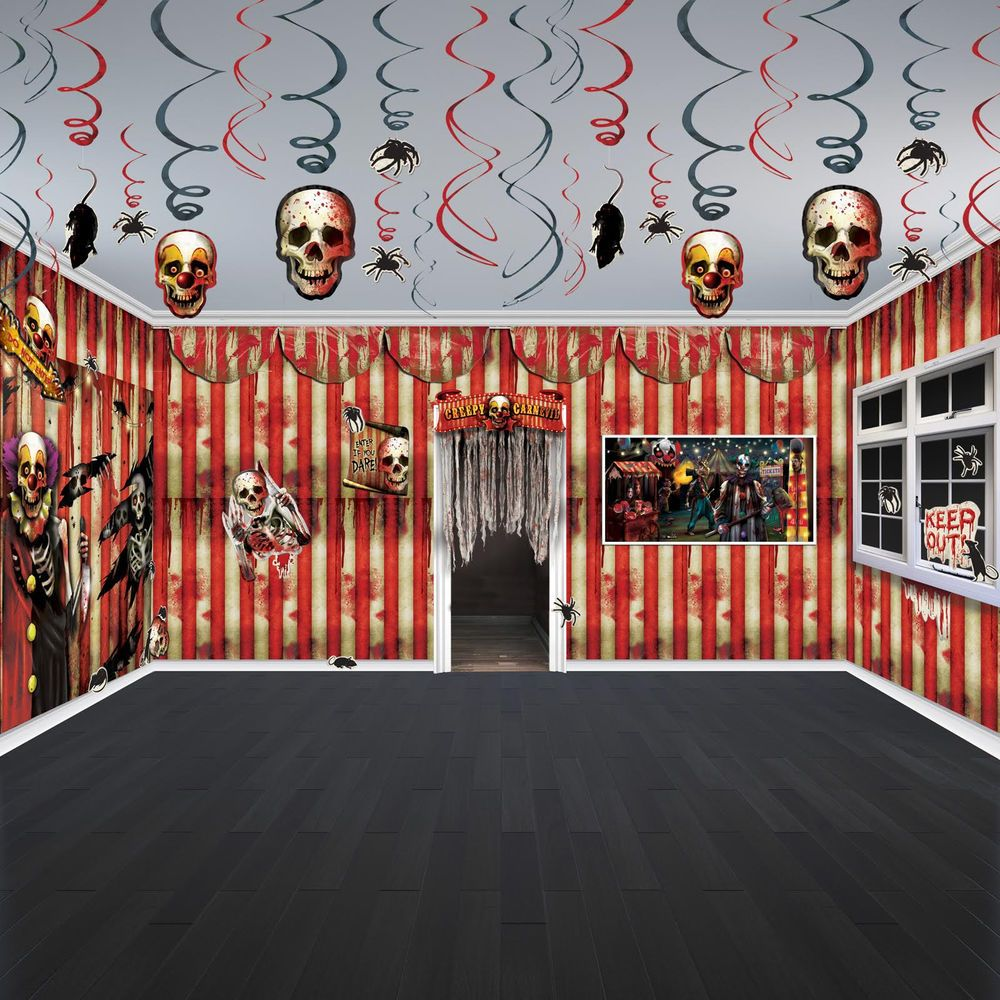 halloween horror creepy carnival circus party scene room decorating
