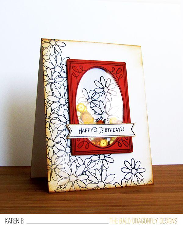 Happy Birthday Card by October Guest Designer Karen Baker | Flower Garden & Garden Starter Stamp Sets by Newton's Nook Designs #newtonsnook