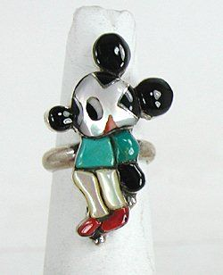 Vintage Sterling Silver and stone inlay Mickey Mouse Ring size 7