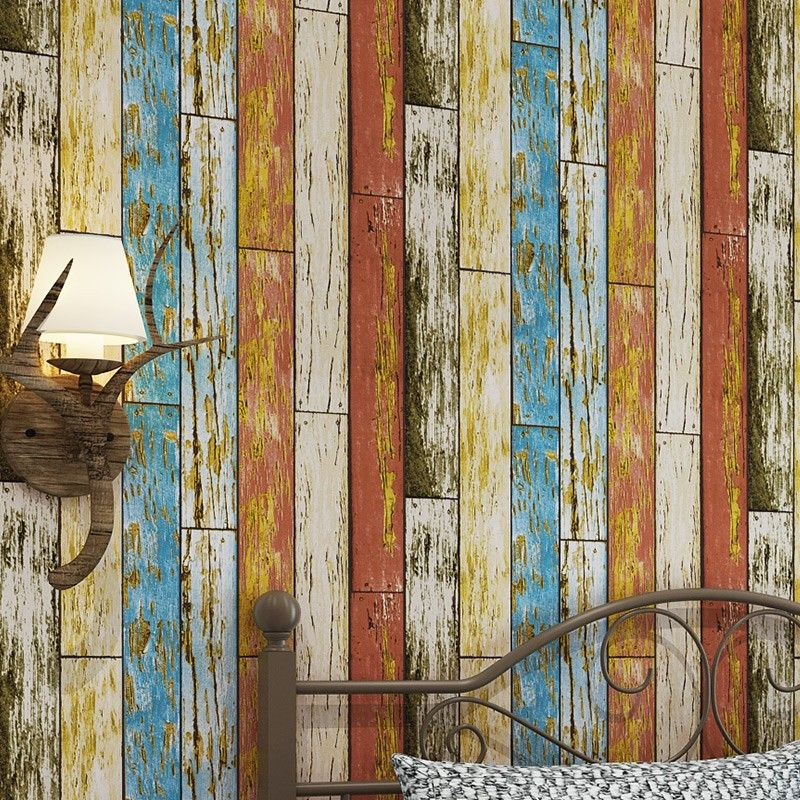 Mediterranean 3d Vertical Striped Wallpaper Modern Imitation Wood Texture Vintage Wallpapers Livin Wooden Wallpaper Western Restaurant Striped Wallpaper Modern