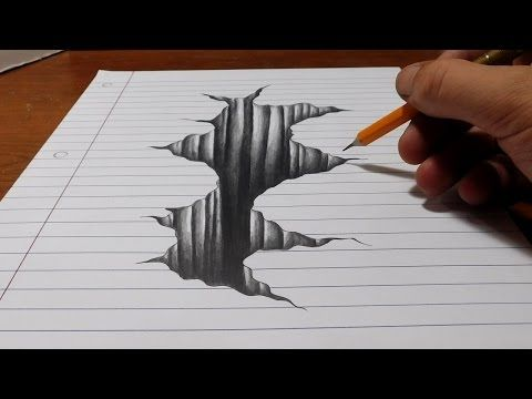 trick art on line paper drawing 3d hole youtube drawings