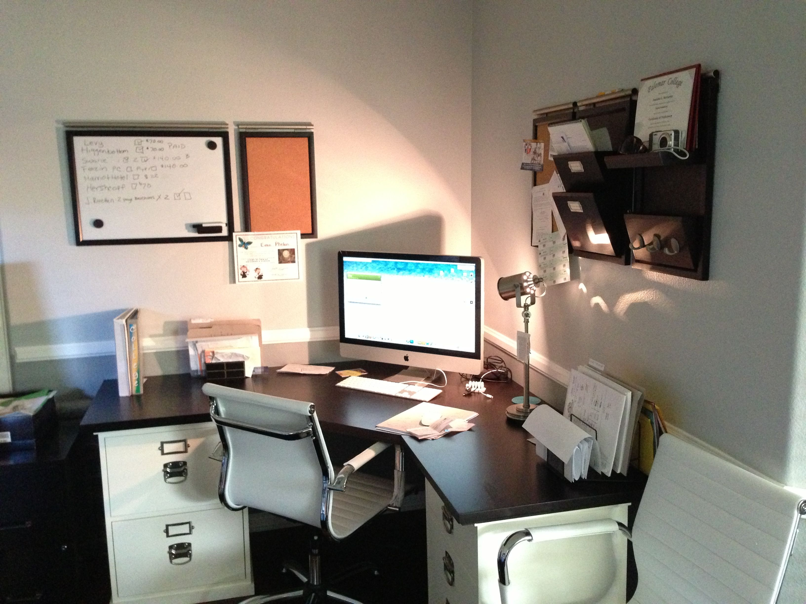 My Home Office Desk Area. Pottery Barn Modular Desk With Espresso Top And  Antique White