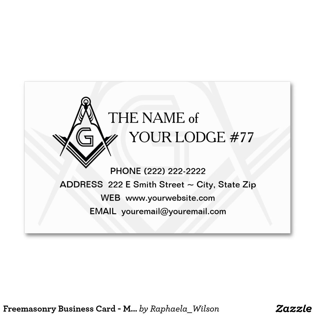 Masonic Business Card Template | Black and White | Business cards ...