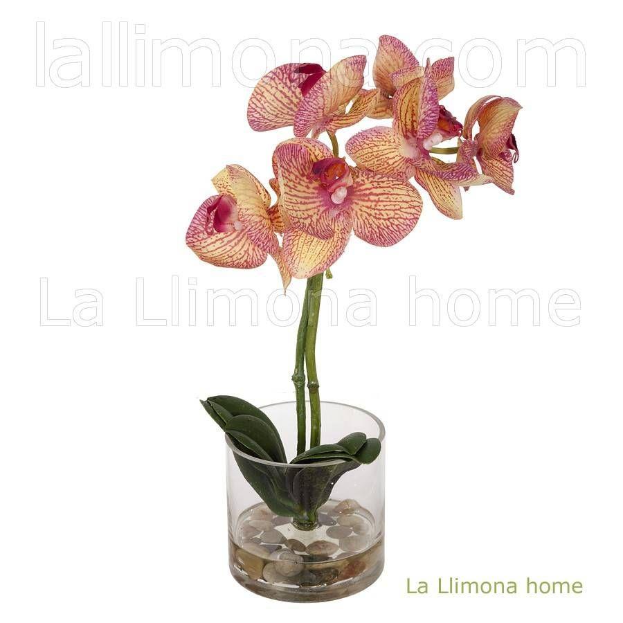 Planta artificial con flores de orquideas en maceta - Maceta para orquideas ...