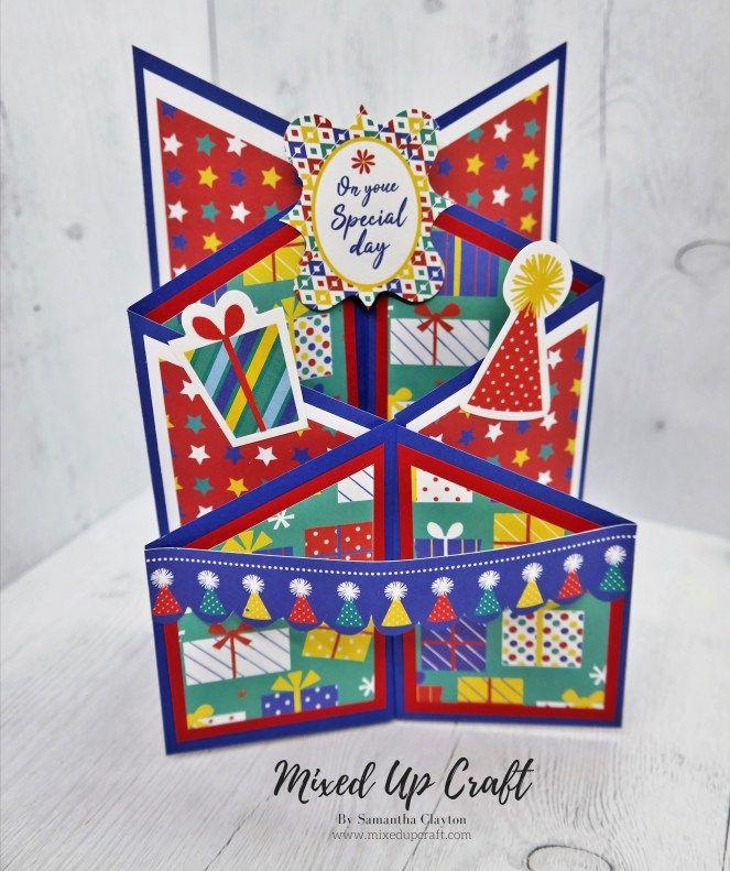 Cascade Fold Card Fancy Fold Cards Fun Fold Cards Birthday Card Template