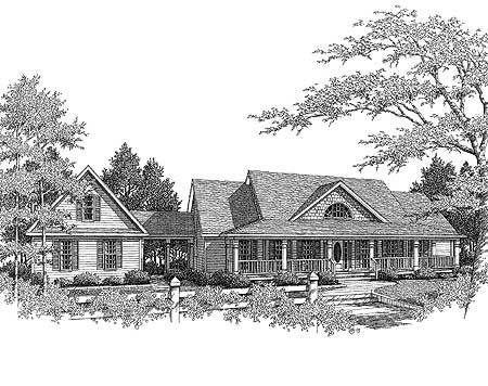 Plan 3611dk Country Farmhouse With Breezeway Modern Farmhouse Plans Farmhouse Plans Breezeway