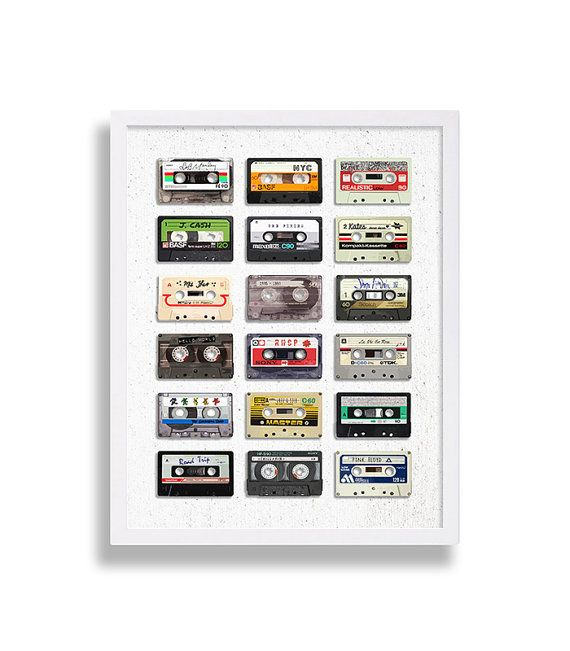 Music Art Print Modern Art Eclectic Print Old Mix Tape Cassette Tape Poster Retro Print Hipster Home