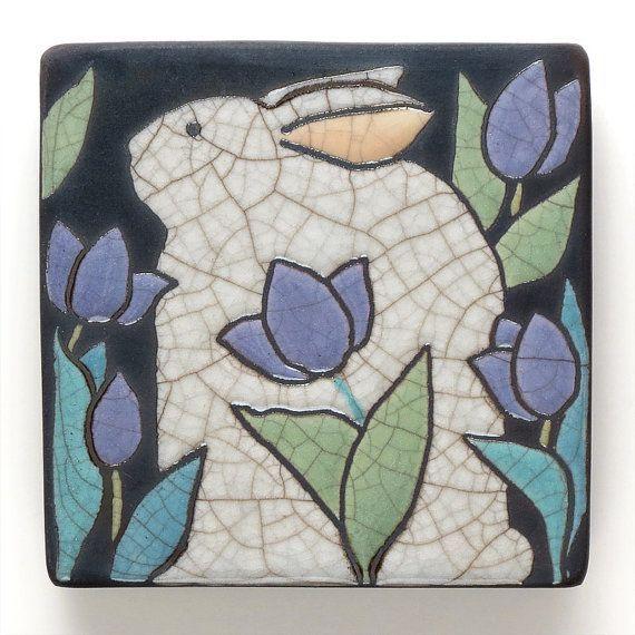 Decorative 4X4 Ceramic Tiles Impressive Rabbit Bunny 4X4 Raku Fired Art Tilehandmade Ceramic Tile Home Decorating Inspiration