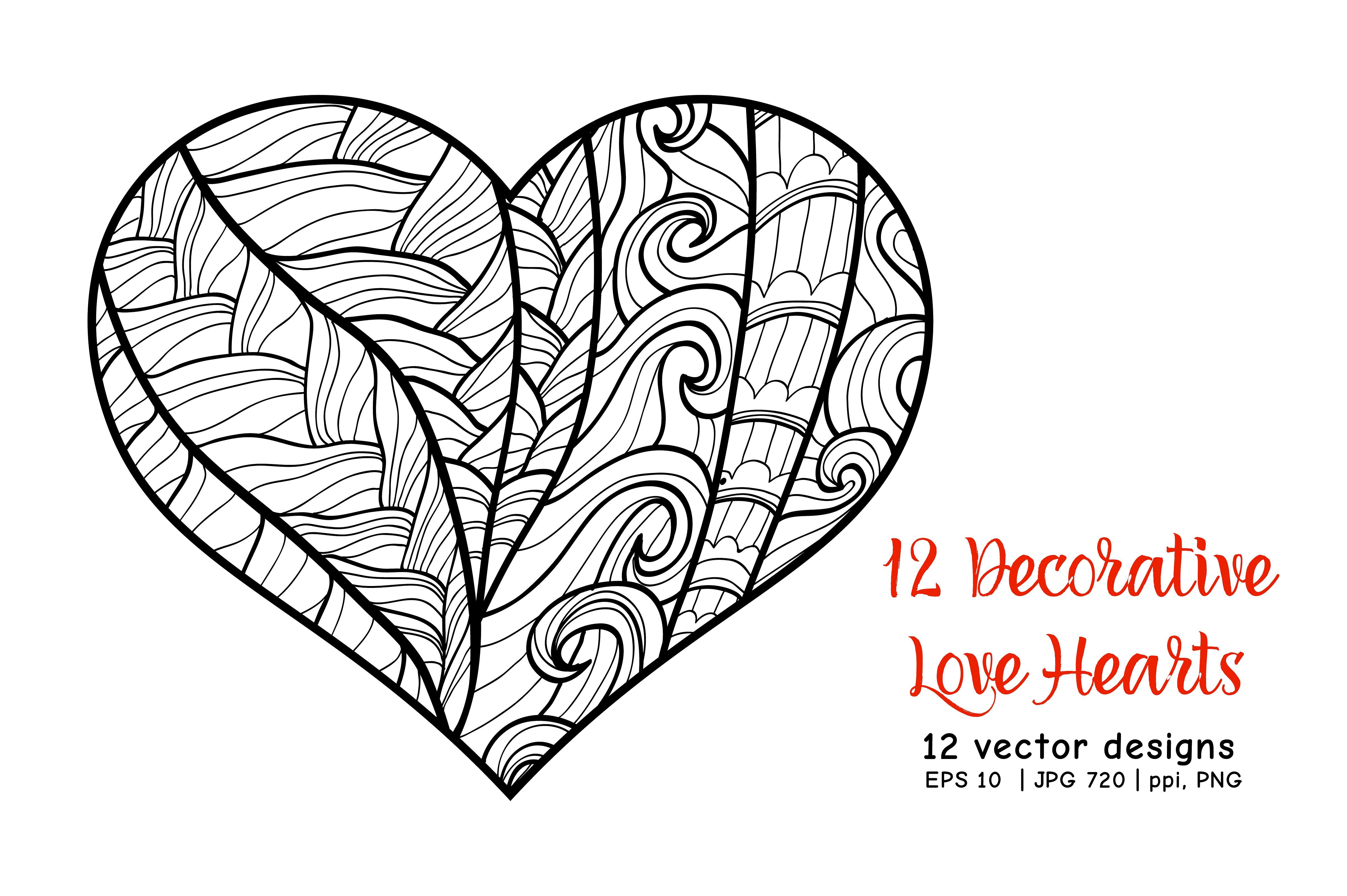12 Decorative Love Hearts Graphic Poster Art Line Art Drawings Love Heart