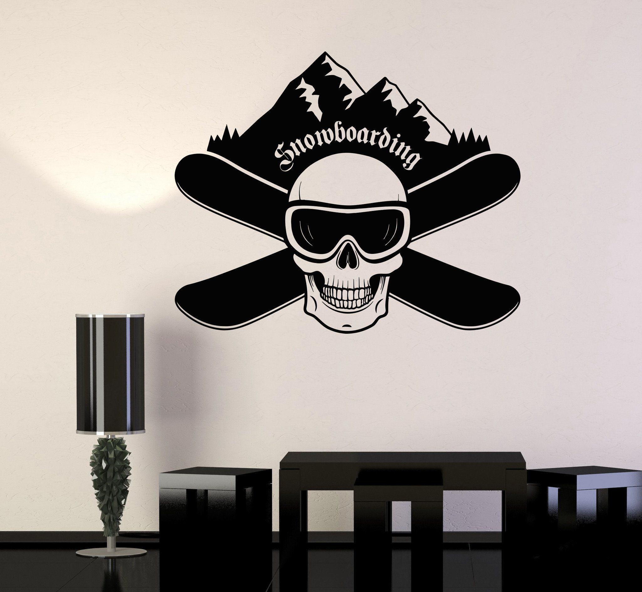 Vinyl Wall Decal Snowboarding Skull Boards Extreme Sports Stickers Mural Unique Gift 536ig Vinyl Wall Decals Wall Decals Vinyl