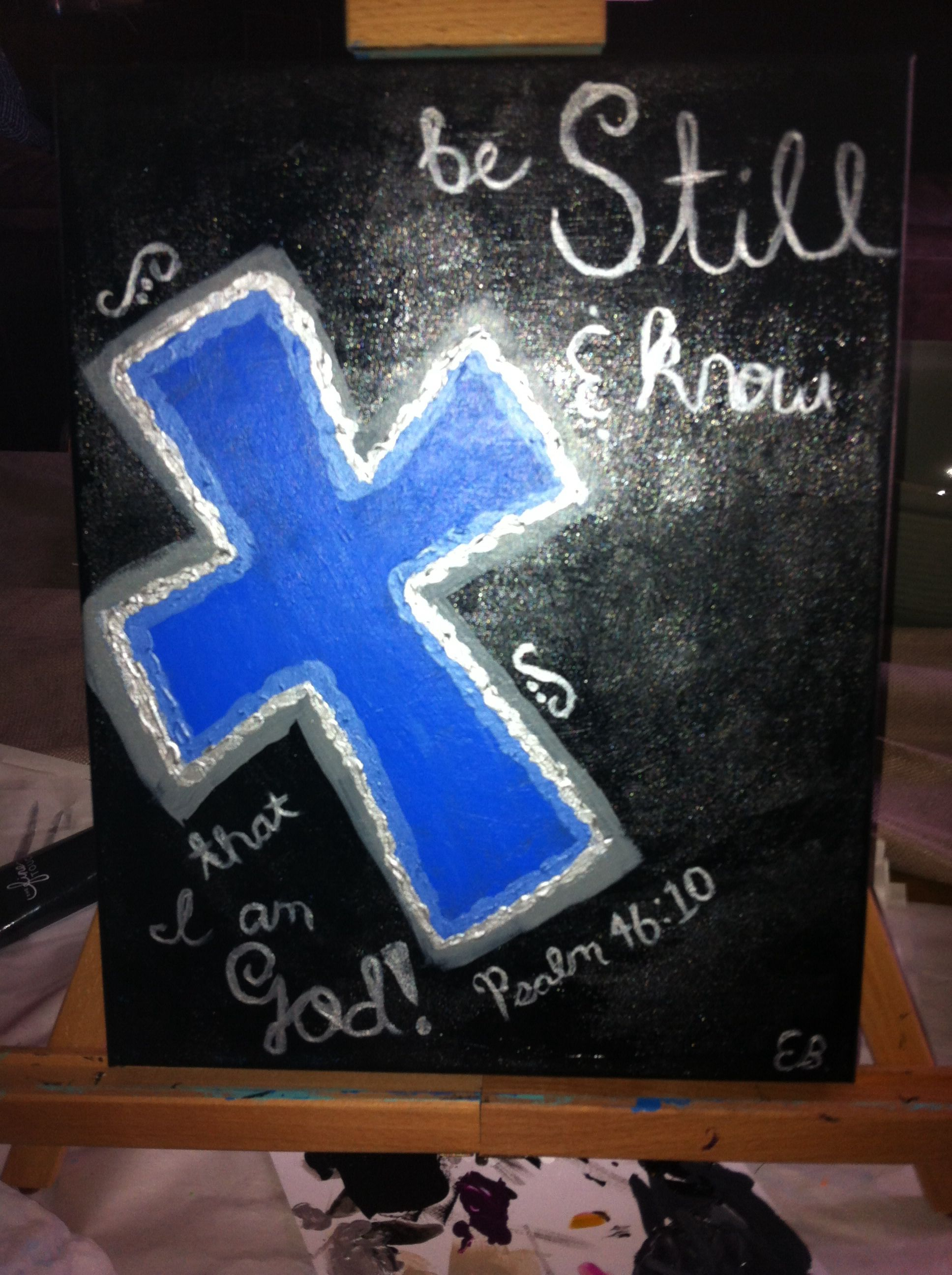 DIY painted cross with quote.