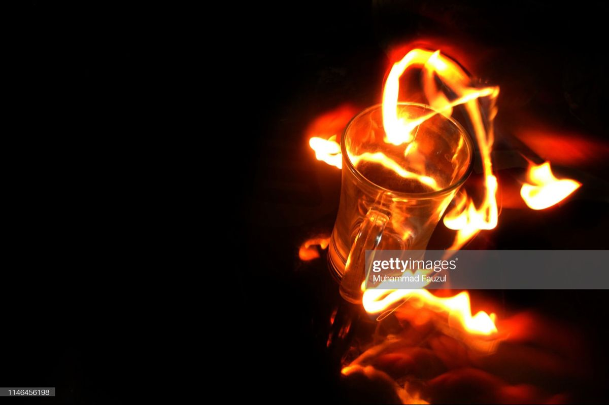 Glass and Fire - stock photo