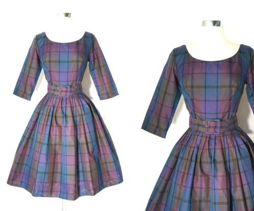 50s 60s SUZY PERETTE vtg purple blue Plaid Bombshell New Look Party Dress xs/S
