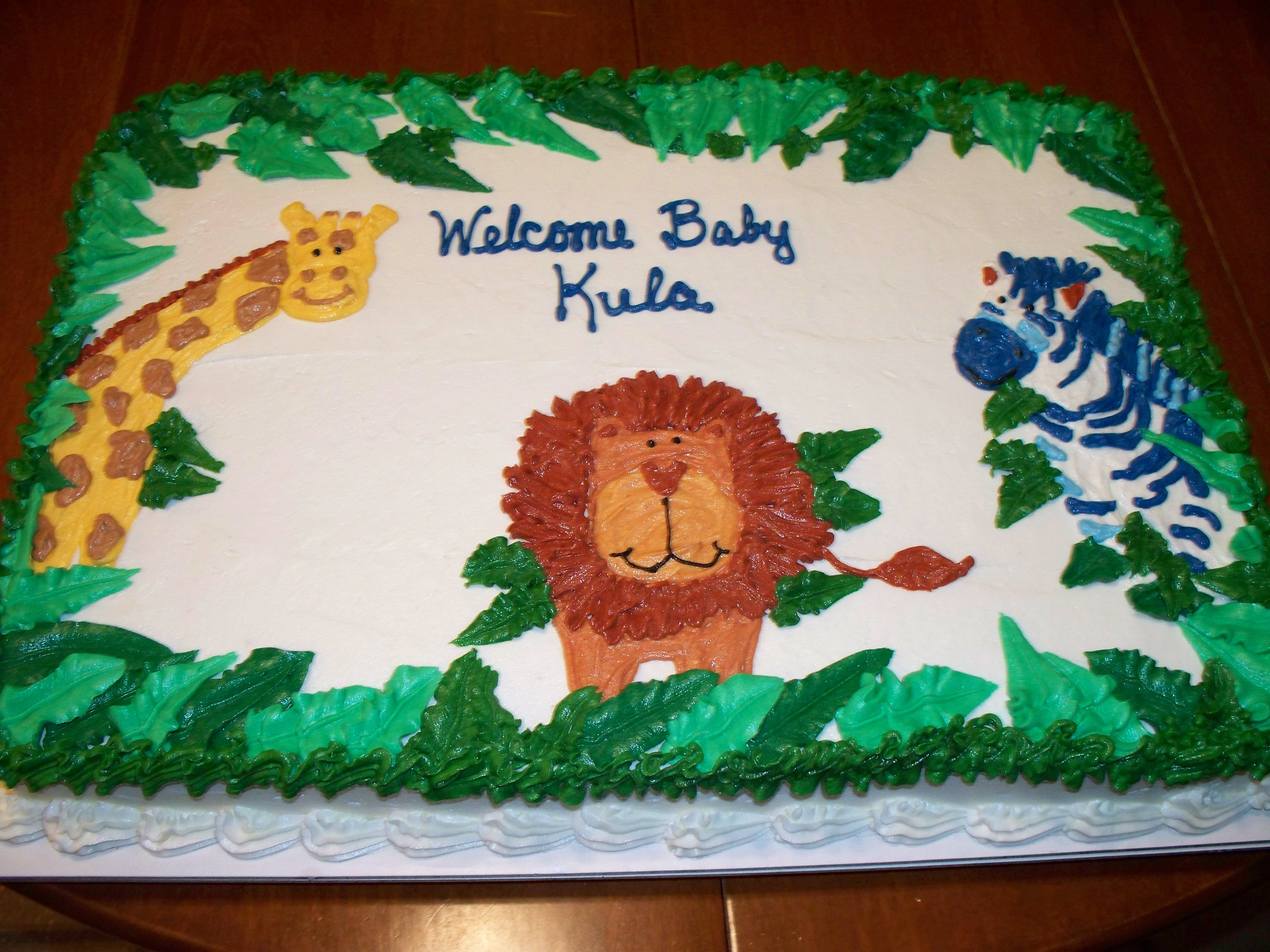 Jungle Theme Baby Shower Sheet Cake Courtesy Of Amy Clapper  # Muebles Koalas Irapuato