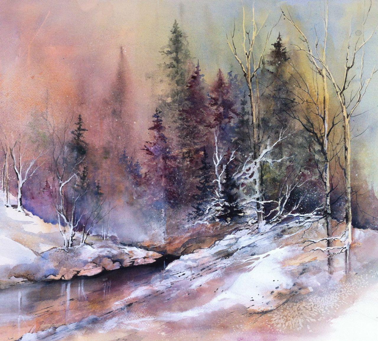 Watercolor landscape dessins pinterest aquarelles paysages et - Paysage peinture facile ...