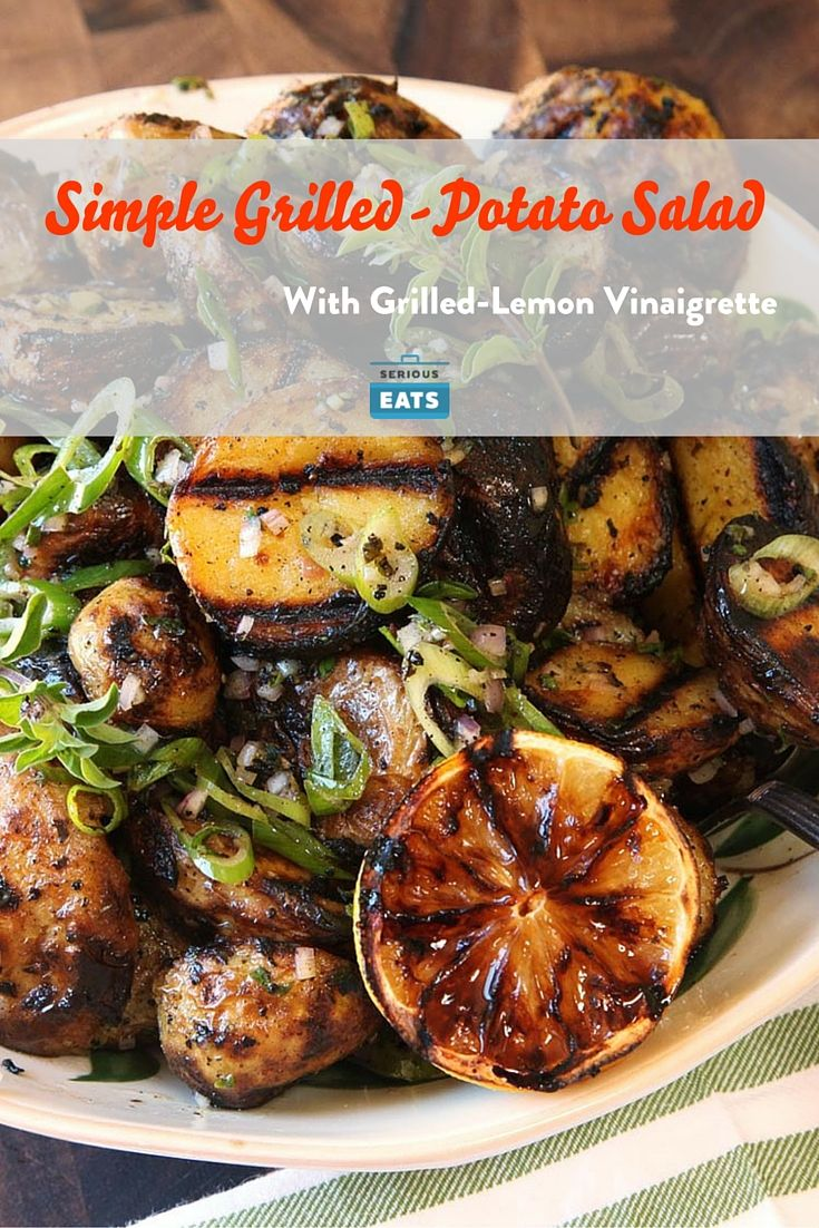 This grilled potato salad offers a range of textures—crispy, crunchy, and creamy—with a nice smokiness from the grill balanced by a tart grilled lemon vinaigrette flavored with scallions and shallots. The key is par-cooking the potatoes and roughing them up a bit for extra crunch.