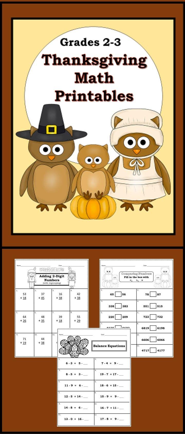Thanksgiving Themed Math Printables Grades 23 Math