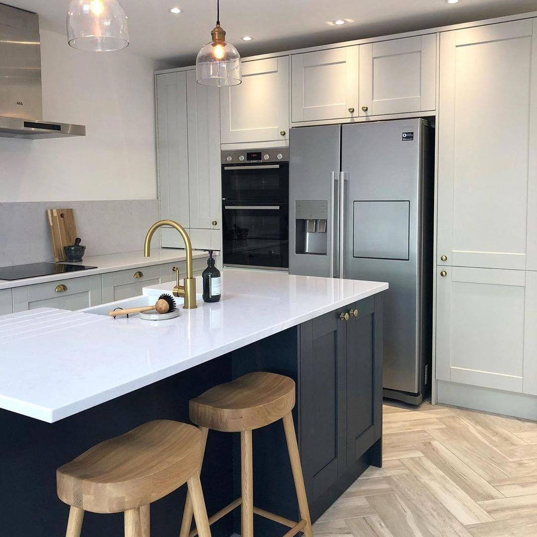 Create An On Trend Kitchen Using Our Navy Kitchen Cabinets And Our Dove Grey Kit Cabinets Cre In 2020 Kitchen Trends Kitchen Fittings Open Plan Kitchen Living Room