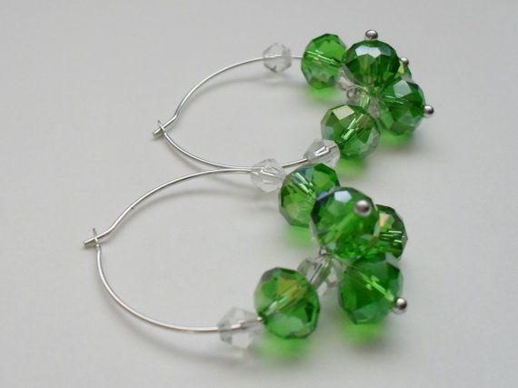 Spring Green Aurora Borealis Crystal Hoop by BjeweledVintage, $18.00