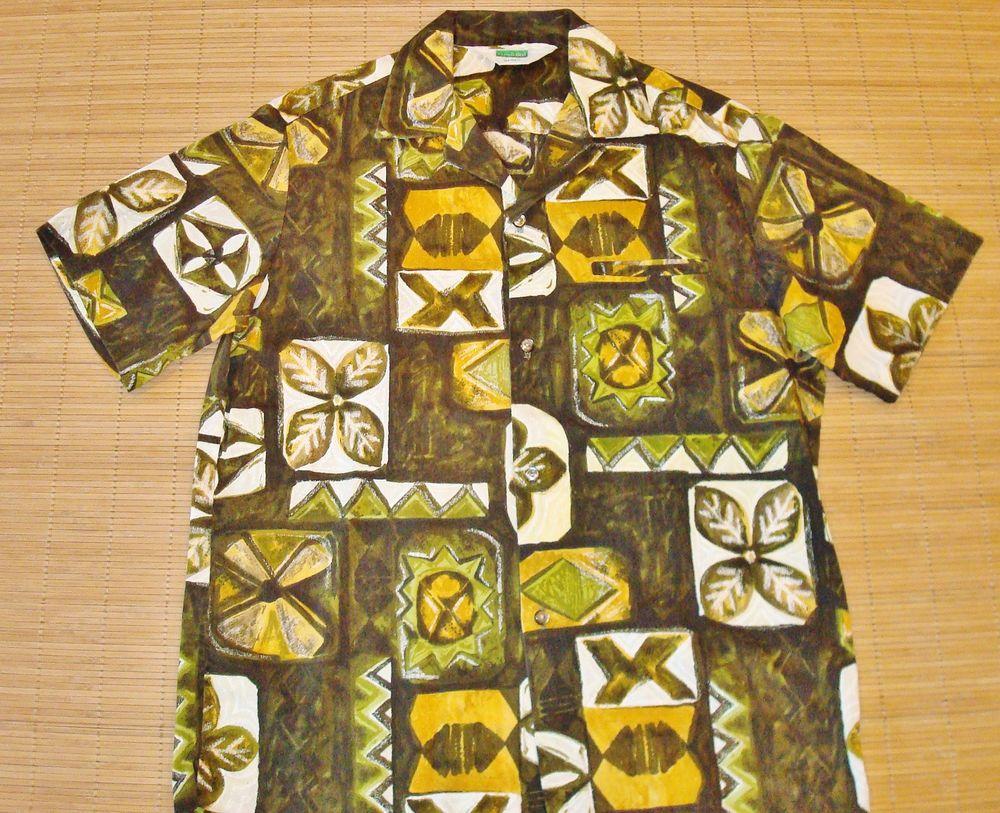 Vintage Made In Hawaii Aloha Bark Cloth Hawaiian Shirt Green M Tapa Tiki