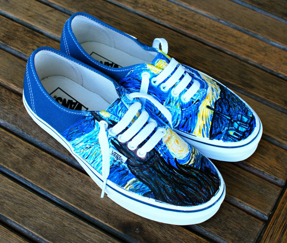 Bstreetshoes Hand By Authentic Vans Starry Navy Painted Night wxPwA0zq