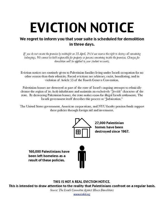 Outrage At NYU Pro-Palestinian Activists Target Jewish NYU - eviction notice letter