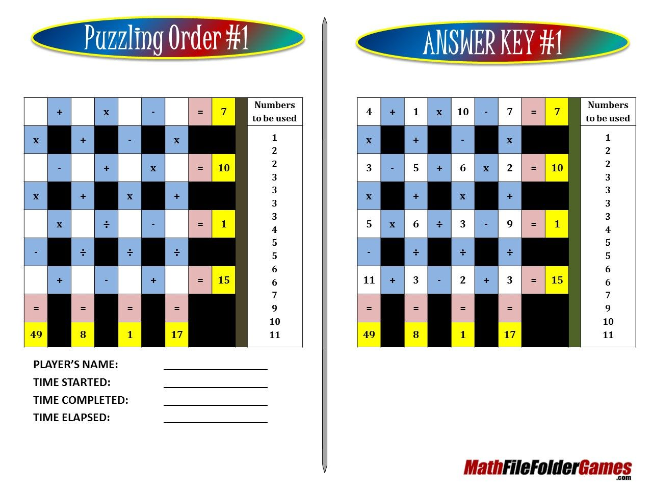 Puzzling Order An Order Of Operations Game Puzzle