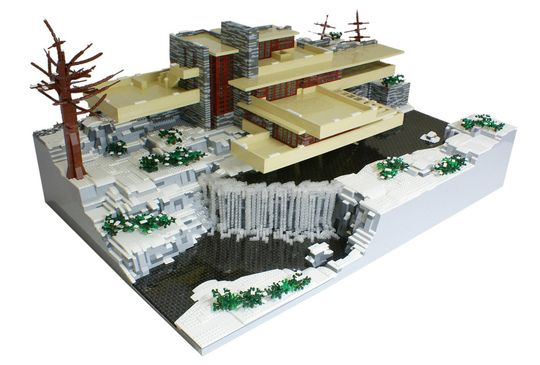 frank lloyd wright s falling water in legos makerfaire make and