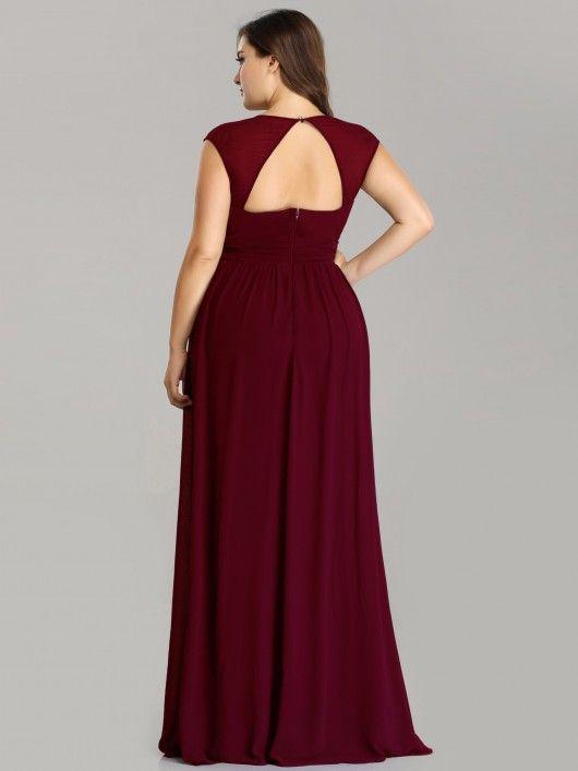 cab7b24f28a7b5 Plus Size Sleeveless Grecian Style Evening Dress  eveningdress   plussizedress  chiffondress  EverPretty  burgundydress  EverPretty