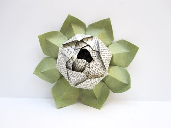 Lotus Blossom Origami from Vintage Dictionary Pages with Green Leaves
