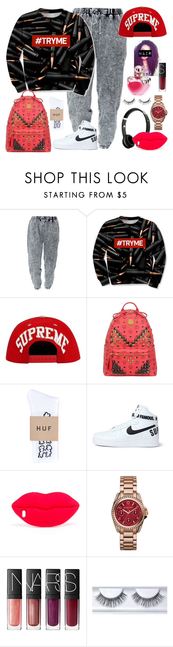 """Actually, don't even think about trying me  #SUPREME"" by cissylion ❤ liked on Polyvore featuring MCM, HUF, Beats by Dr. Dre, NIKE, STELLA McCARTNEY, Michael Kors, NARS Cosmetics and Nina Ricci"