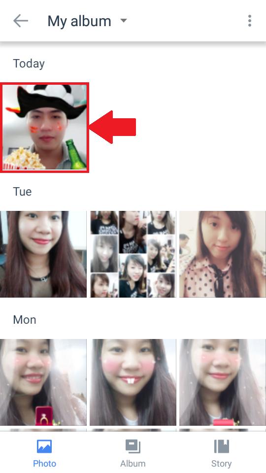 Panduan cara melihat foto yang tersimpan saat mengedit